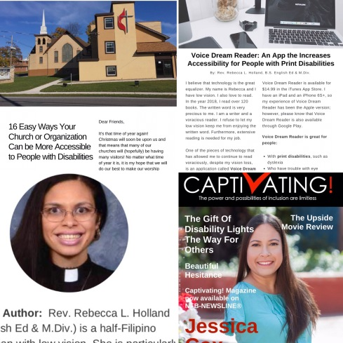 "A collage shows the articles, ""16 Easy Ways Your Church or Organization Can Be More Accessible,"" and ""Voice Dream Reader: An App that Increases Accessibility for People with Print Disabilities."" It also shows Rebecca's author photo and the January Cover of Captivating"