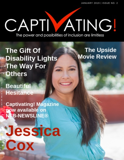 On the cover, our featured guest, Jessica Cox is smiling while looking straight into the camera in an outdoor shot. She is wearing a light blue short-sleeved crew-neck top. Her long brown hair, parted down the middle, is draped over her left shoulder.