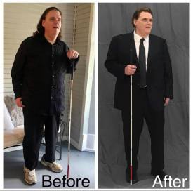 1. Before & After photos of Max. In the before photo, he is dressed in black pants and shirt with sneakers and shoulder-length hair. In the after photo, he looks sharp in black dress pants, dress shoes, jacket and black tie with a white shirt. His hair has been cut, colored and styled. The overall appearance is fresh.