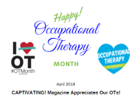 "An ""I heart OT Month"" with the hashtag #OTMonth and a blue heart with Occupational Therapy in white letters"