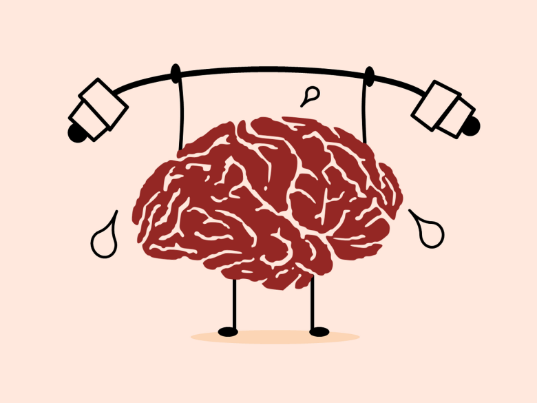 Brain lifting weights is an illustration of a brain lifting barbells.