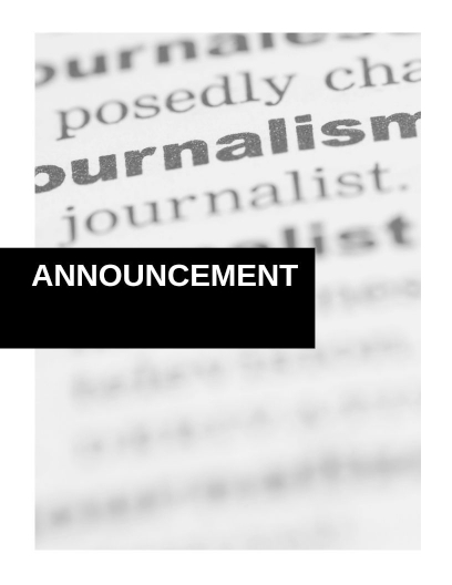 "Featured Image is a black and white divider that says ""Announcement"" overlaying a blurred enlarged image with the definition of journalism."