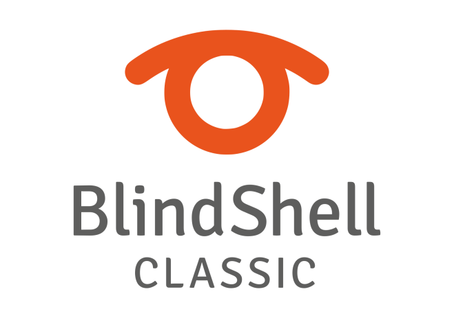 Header is the BlindShell orange logo that slightly resembles an eye.