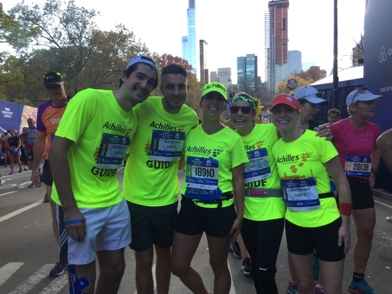 This is a picture of me and my four guides dressed in Achilles International gear at the finish line of the New York City Marathon!  We have the biggest smiles on our faces!