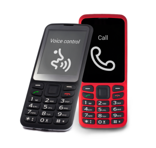 The second image is the black and red versions of the BlindShell Classic phone with tactile buttons.
