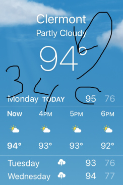 "a screenshot from a phone showing the weather forecast. Currently 94 degrees. The forecast for 3 days is for sun and thunderstorms with highs in the 90's. There is a notation written on it, pointing to the 94 that says, ""34C."""