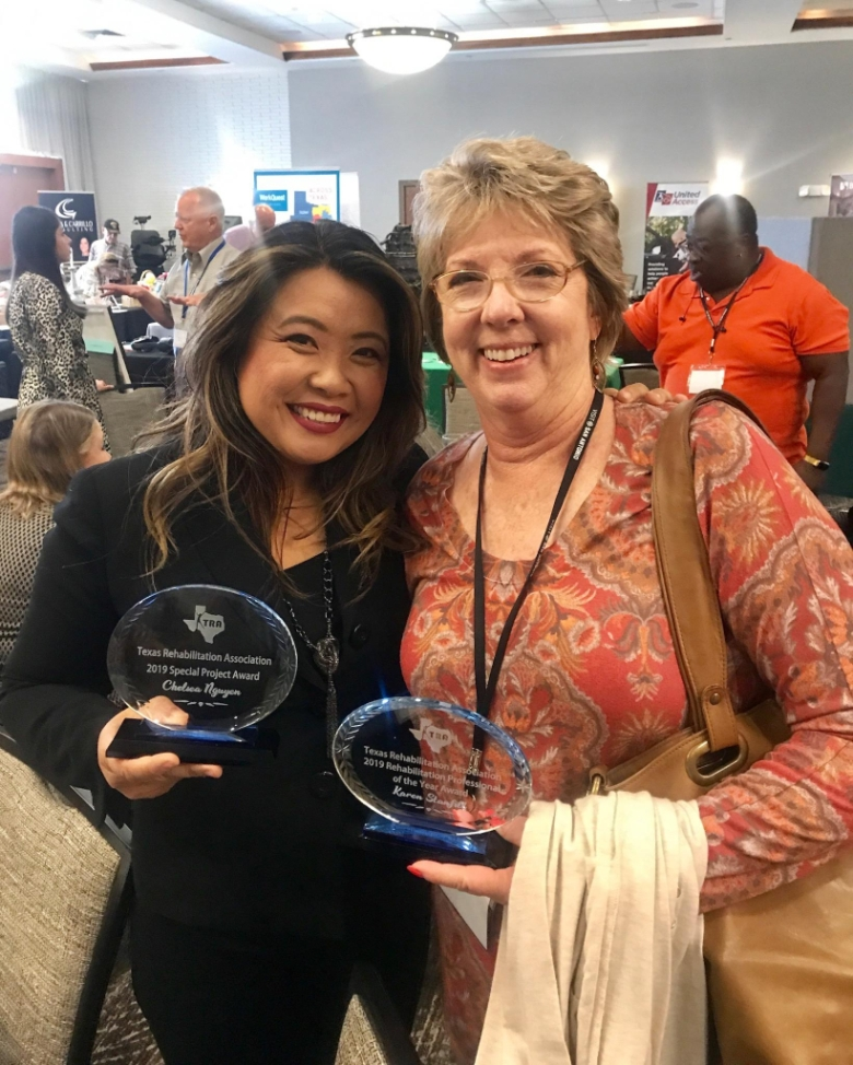 Chelsea is holding her award and standing with another Houstonian, Karen Stanfill, TRA member, and Chelsea's Secretary, on the Houston Area Rehabilitation Association which is a subchapter of the TRA.