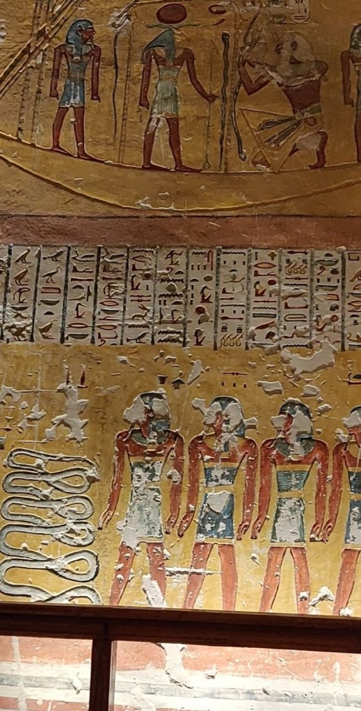 Frescos on the tomb's walls in Valley of the Kings