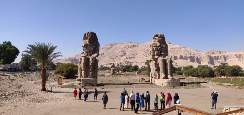 The Colossi of Memnon, two big statues representing Pharaoh Amenhotep III